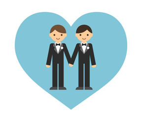 Cute cartoon gay couple in wedding tuxedos holding hands inside a heart shape.