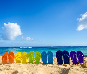 Wall Mural - Colorful flip flops on the sandy beach