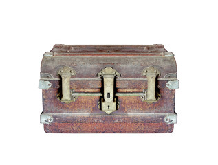 Box chest is rust for vintage on white background