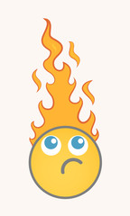 Burning - Cartoon Smiley Vector Face
