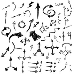 Hand Drawn Vector Arrows, Design Elements Set