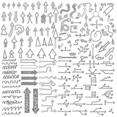 Doodle arrow icons set with spiral, square, circle and triangle