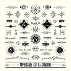 Set of catchwords ampersands in geometric line shape art deco re