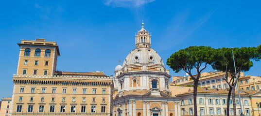 Architecture and the orange tree of Rome, Italy