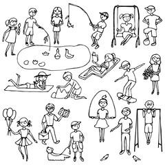 Children hand drawn set
