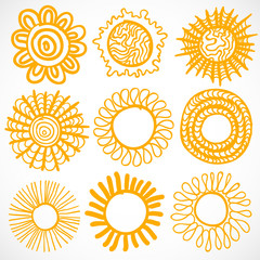 Vector set of different suns isolated, hand drawn illustration