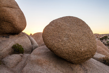 Giant boulders at Jumbo Rocks in Joshua Tree National Park, CA