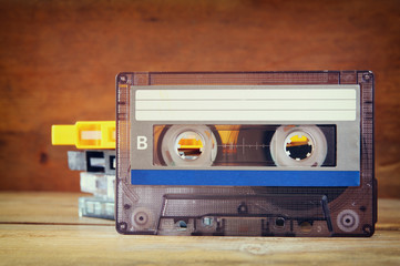 close up photo of stack of Cassette tapes . retro style image