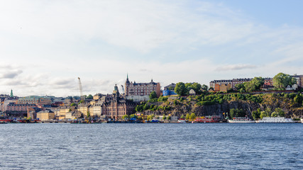 Morning in the capital of Sweden, Stockholm. Panarama of the coast of the river Malaren
