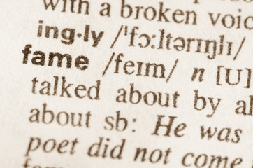 Dictionary definition of word fame