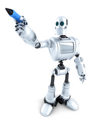 Robot writing on invisible screen. Isolated. Contains clipping path