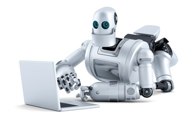 Robot laying on floor with laptop. Isolated. Contains clipping path
