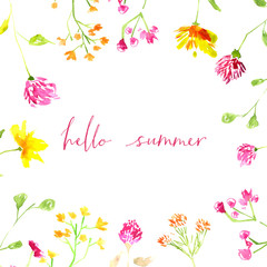 Hello summer text with hand painted watercolor flowers and