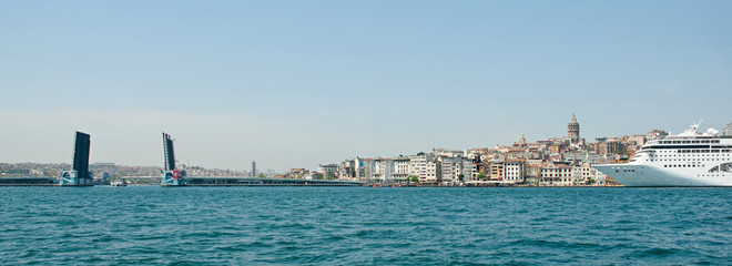 Istanbul, Galata Tower, ship and drawbridge. Panorama