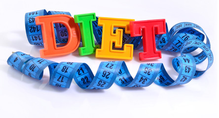 Word Diet written by colorful letters with blue measuring tape o