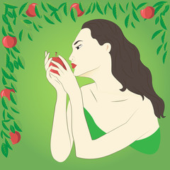 Girl on a green background holding a red apple