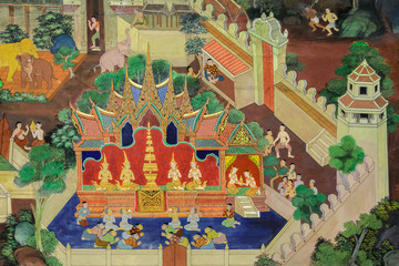 Thai mural painting of the life of Buddha on temple wall, Thailand