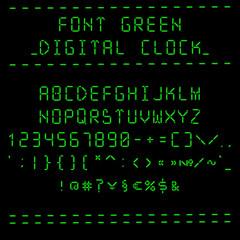 Font green digital clock - roman capital letters