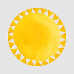 Watercolor orange spots and sun - illustration . Bright frame