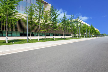 modern building with empty road floor Wall mural