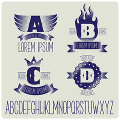 Set of heraldic logo with gothic font. ABCD