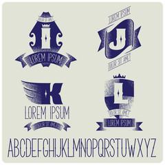 Set of heraldic logo with gothic font. IJKL