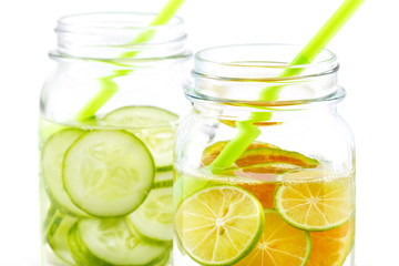 Infused detox water, bright and colorful tone, Detox diet lemon and cucumber