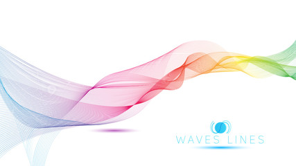 great rainbow waves colorful gradient light blend line vector