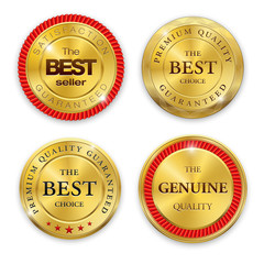 Best golden metal badges set. Round gold medal or emblems with