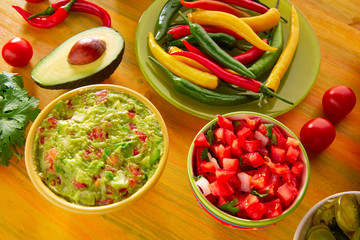 Mexican food mixed guacamole nachos chili sauce