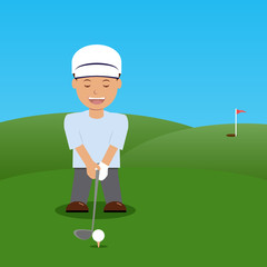 Illustration golfer before impact