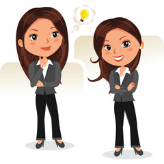Business woman brainstorming. Vector illustration of beautiful woman in different poses.