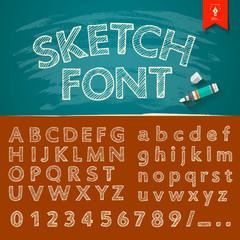 Hand drawn sketch alphabet and numbers collections Vector