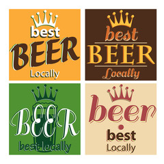 vector set design poster with typing locally beer and crown