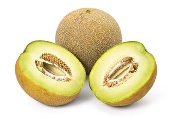 Fresh ripe organic cantaloupe melons isolated on white background