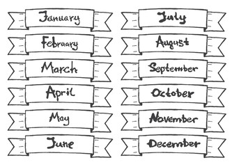 Hand drawn ribbon with months for calendar