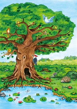 Forest tree landscape with birds, lake, frogs and a cute hedgehog. Nature watercolor illustration.