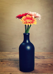 beautiful bouquet of flowers in a vase, toned image.