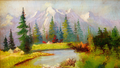 Landscape painting. River and miscellaneous and trees. Snow cove