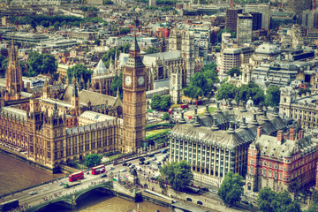 Wall Mural - Big Ben, Westminster Bridge on River Thames in London, the UK aerial view