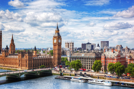 Big Ben, Westminster Bridge on River Thames in London, the UK. Sunny day