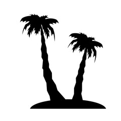 palm tree and island shilhouette stylized vector