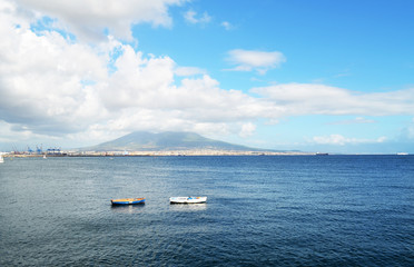 ITALY, NAPLES – SEPTEMBER, 17, 2013 – View from quay of Naples to Vesuvius.