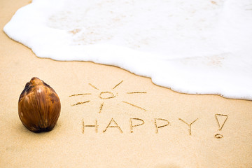 Inscription of word Happy with exclamation mark written on wet y