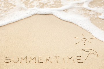 Inscription of the word Summertime and sun with umbrella drawing