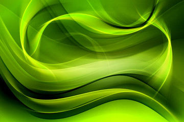 Creative Green Fractal Waves Art Abstract Background
