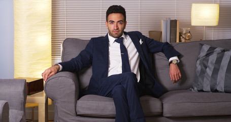 Mexican businessman sitting at home