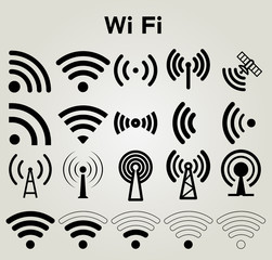 Wi Fi icons set vector illustration