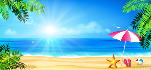 Wall Mural - beach holidays - sun, palm and accessories