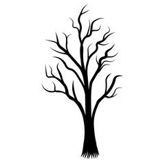 The roots tree black tatoo silhouette vector illustration of vector design